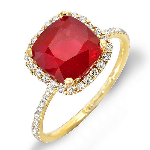 Estate ring 5.12 ct natural ruby and diamond 14k gold