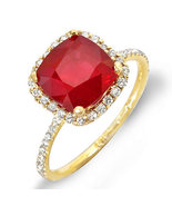Estate ring 5.12 ct natural ruby and diamond 14k gold - $1,655.00