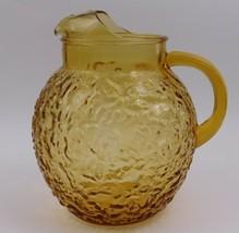 Anchor Hocking Lido Honey Gold Amber 96oz Pitcher Milano Lido Crinkle Vi... - $39.60