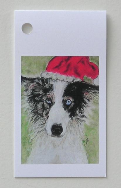 Holiday gift tags santa blues