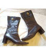 Coach Onnette brown leather zip up boots Size 6.5 turnlock - $19.00