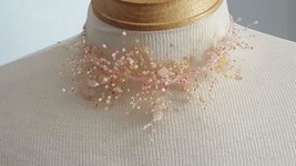 """13"""" Pink Glass Cluster Custom Designed Wire Choker Necklace, Plus 4""""TAIL, Fairy - $4.94"""