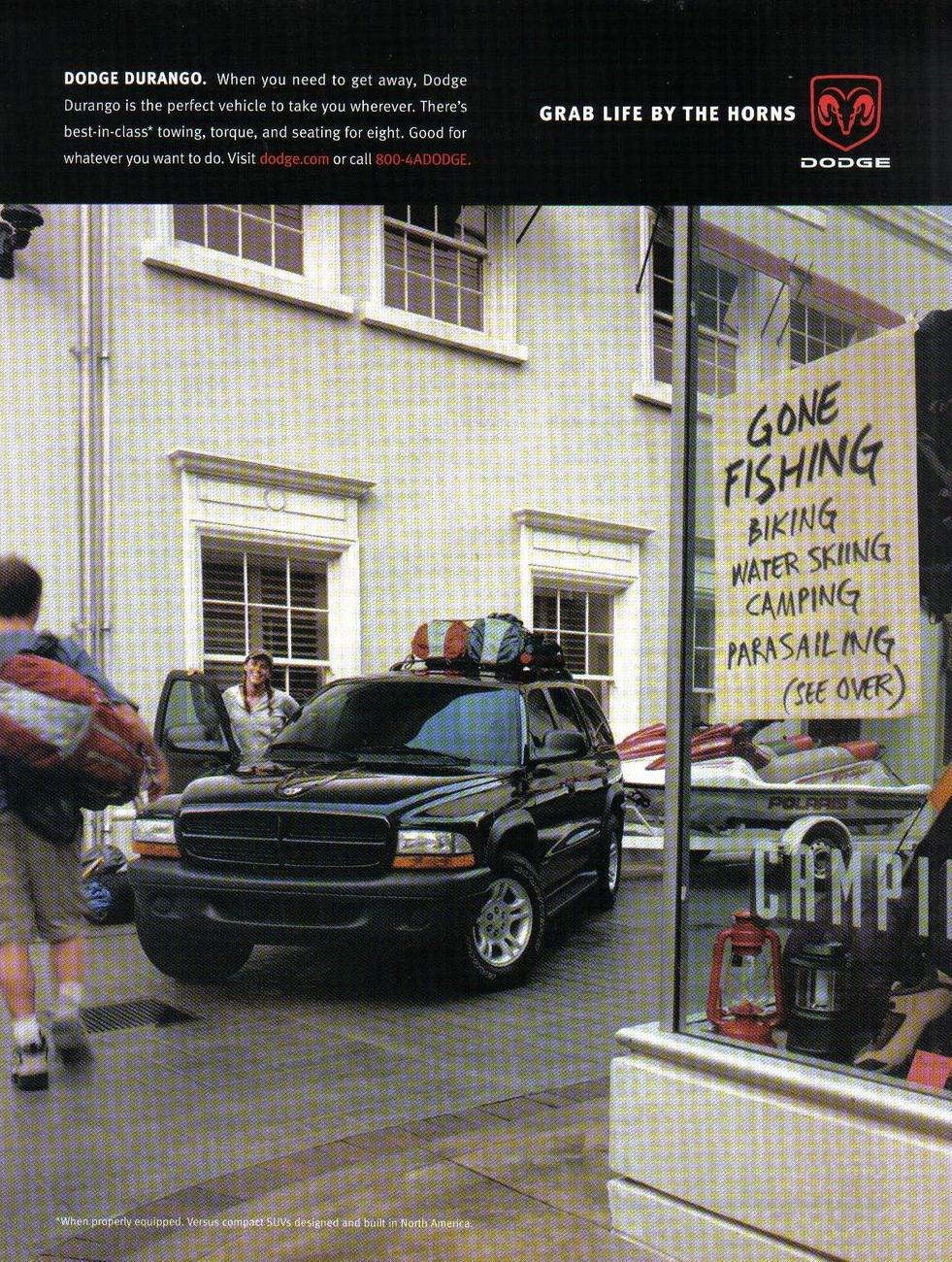 Primary image for Dodge Durango 2002 Full Page Color Print Ad Grab Life By The Horns Original NM