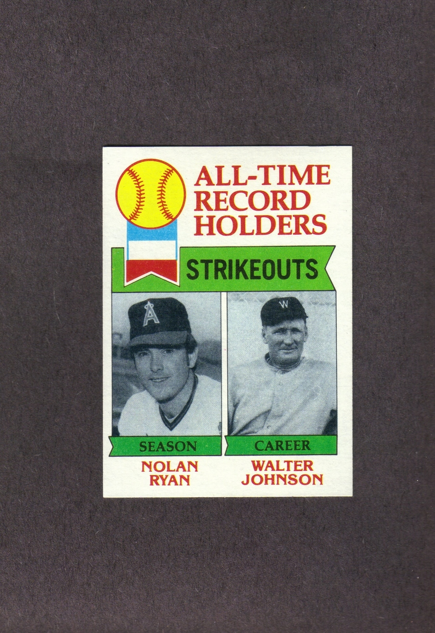 1979 Topps # 417 Nolan Ryan Walter Johnson