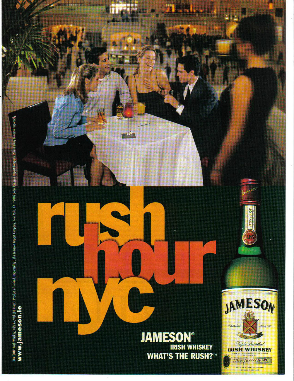 "Primary image for Jameson 2000 Print Ad  Irish Wisky Rush Hour NYC ""What's The Rush?"""