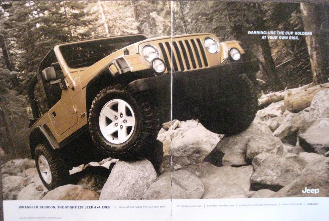Primary image for Jeep 2 Page Color Print Ad From 2002 Wrangler Rubicon The Mightiest Jeep 4x4