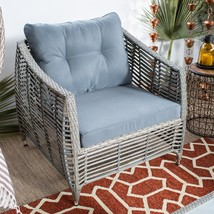 Bali Driftwood Finish Resin Wicker Outdoor Deep Seat Patio Chair With Cu... - $385.60