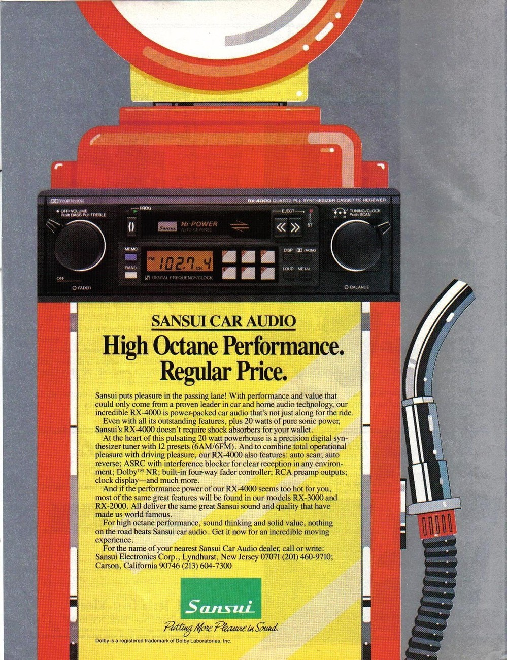 Primary image for Sansui Car Audio Full Page Color Print Ad From 1986 Original Near Mint