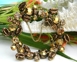 Vintage Regency Rhinestone Bracelet Molded Leaves Golden Amber Brown - $69.95