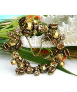 Vintage Regency Rhinestone Bracelet Molded Leaves Golden Amber Brown - £53.16 GBP