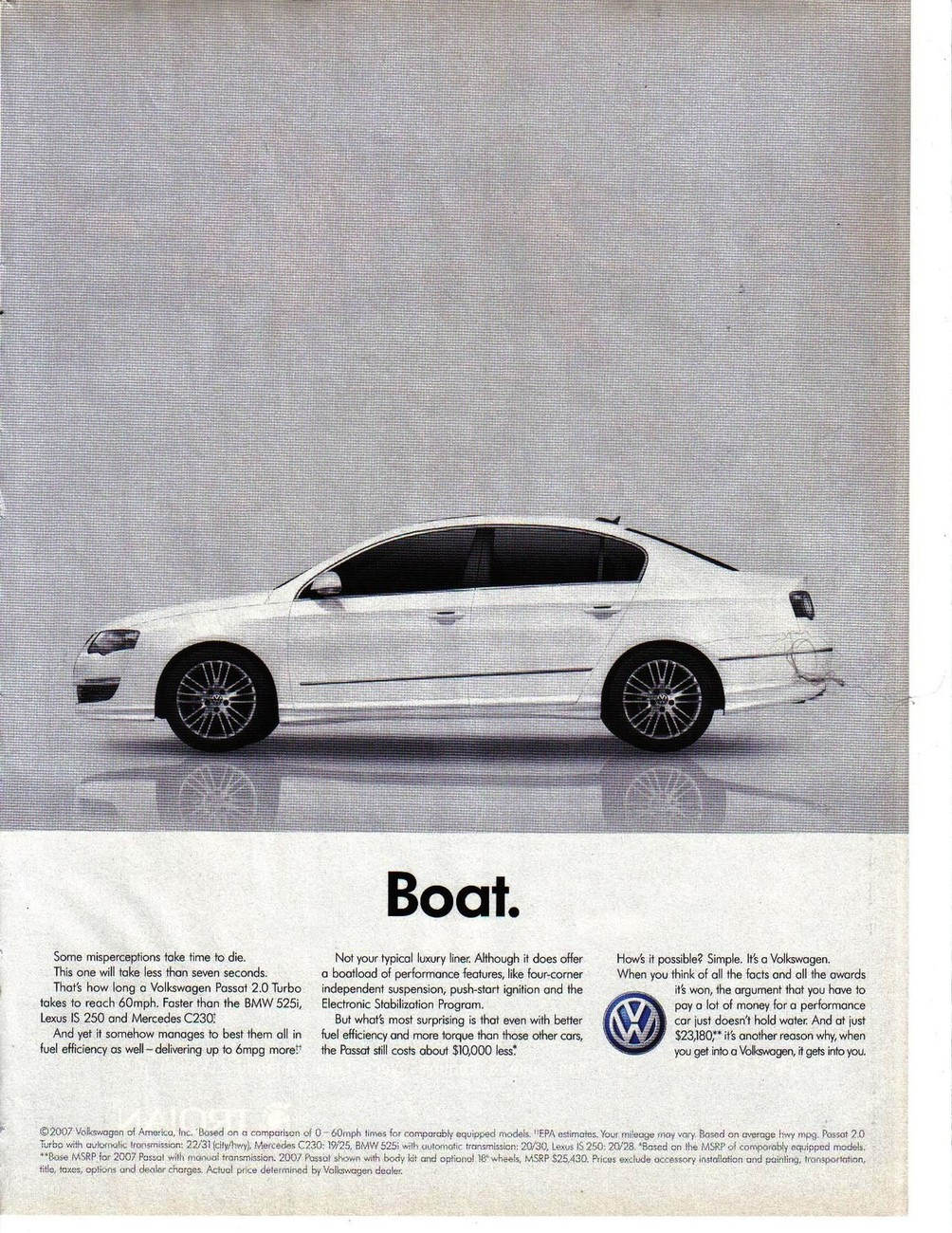 Primary image for Volkswagon 2007 Print Ad VW Passat 2.0 Turbo Car Vehicle  Boat Near Mint