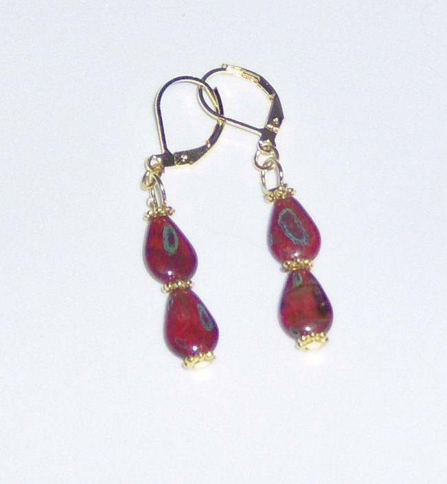 American Made!  Red Jade Dangles Pierced Earrings with Gold Plated Hooks