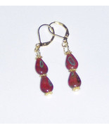 Custom Made! Red Jade Dangles Pierced Earrings with Gold Plated Hooks  - $14.99