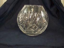 "24% Lead Crystal Vase Bowl Diamond And Fan Pattern 6.5"" tall F1 - $19.79"