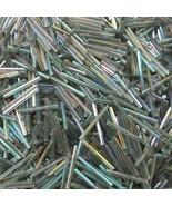 Czech Glass Bugle Beads 25mm ( 1 inch ) Crystal Gray Black Diamond Iris ... - $9.97