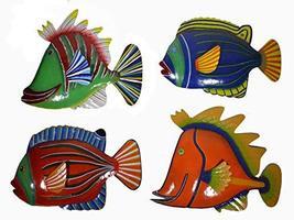 WorldBazzar Set 4 Large Beautiful Unique Fish Metal Hanging Wall Art - $98.94