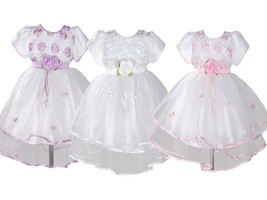 Baby Girls Christening Party Dress Pink Lilac White 0 3 6 9 12 18 Months - $21.48