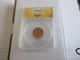1958-D , Lincoln Penny , MS 66 , Red , Anacs - $45.00
