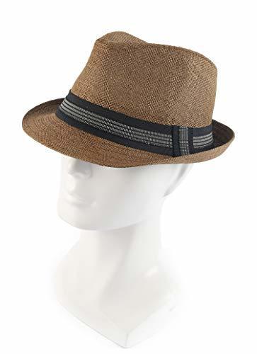 Melesh Classic Sun Straw Trilby Fedora Hat L/XL, Coffee-Black Band