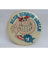 Pinback Button Blue Ribbon Smile #1 1980s Vintage One Badge Pin Red Hair... - $11.99