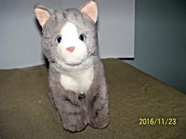 plush kitty cat kitten gray white stuffed animal blue eyes pink nose - $19.80