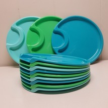 Pampered Chef Plastic Plate Set Lot 12 Blue Green Outdoors Patio Picnic ... - €22,59 EUR