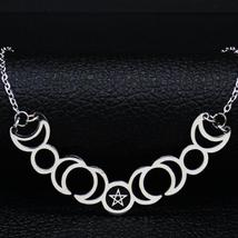 Sun Moon Pentagram Stainless Steel Silver Color Necklace image 1