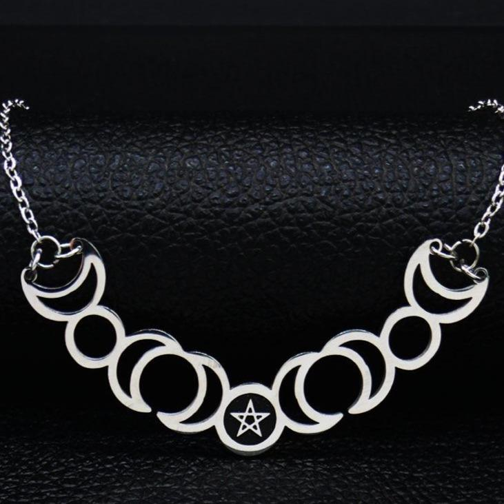 Ess steel silver color necklaces women witchcraft statement necklace jewelry gargantilla n427s02