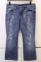W12880 Womens Citizens Of Humanity Destroyed Blue Denim Boot Cut J EAN S Size 29 - $18.30