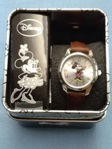 Disney Minnie Mouse Watch Brown Band Accutime Watch Needs Battery - $28.95