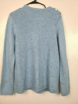 Talbots Womens Sweater Size Large Blue Long Sleeve Mock Neck Shoulder Bu... - $27.95