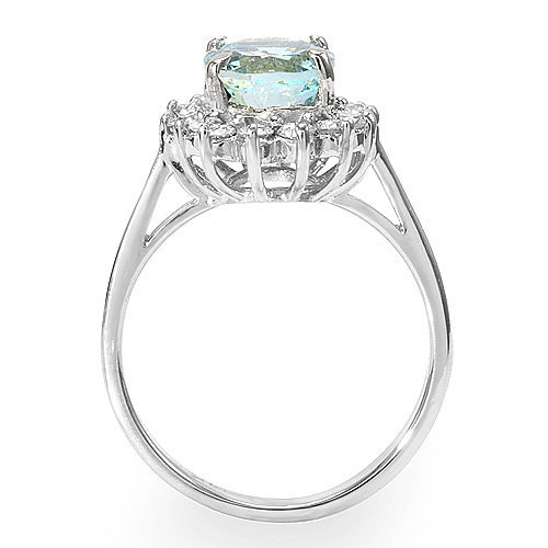Estate ring 1.85 ct Aquamarine and diamond 14k