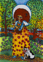 The angel in the orchard ( art print merry gift... - $18.00