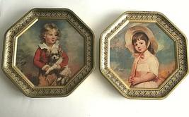 "Vintage 1960's Boy Girl  Metal Octagon Frame Picture 12"" Mid Century Mod... - $47.27"