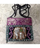 Purple Elephant Sequined Small Purse-Crossbody 5in x 4.5in - $14.20