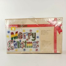 Vintage 1981 Caron Merry Christmas Latch Hook Rug Wall Hanging Kit K3363 Sealed - $125.00
