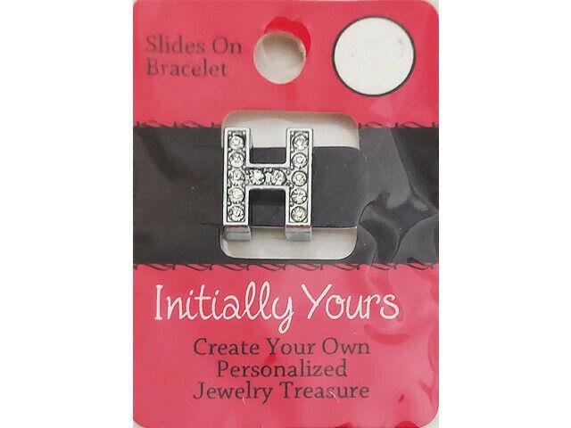 Initially Yours Rhinestone Letter Bracelet Slide, Letter H