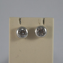SOLID 18K WHITE GOLD EARRINGS, WITH ZIRCONIA, WIDTH 0.28 INCHES, MADE IN ITALY image 1