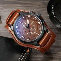 CURREN Men Military Quartz Watch Large Dial Casual Leather Strap Male Wristwatch - $21.98