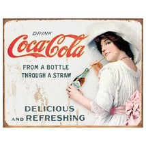 Coca Cola Coke Thru a Straw Girl Vintage Advertising Retro Metal Tin Sig... - $14.99