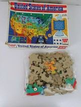Vintage 1965 Whitman United States of America 100 piece Picture Map Puzzle - $8.59