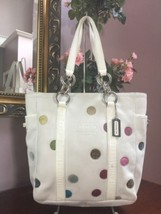 Coach Bag White Leather Multi Polka Dot Tote Shoulder 9769 B2R - £60.62 GBP