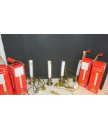 Vintage Christmas Window Electric Brass Candle holder candles lot Noma 1... - $24.99