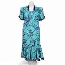 Vintage Hilo Hattie Size 12 Purple Teal Floral Hawaiian Aloha Muumuu Dre... - $46.74