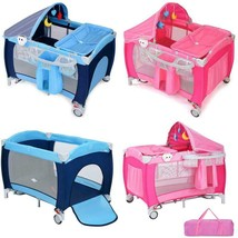 Baby Crib Portable Infant Bed Foldable Bassinet Newborn Playpen w/ Nurse... - $161.89