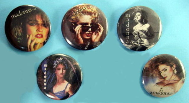 MADONNA 1984 PINBACK BUTTONS 5 DIFFERENT near MINT
