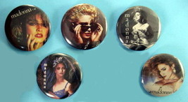 MADONNA 1984 PINBACK BUTTONS 5 DIFFERENT near MINT - $19.98