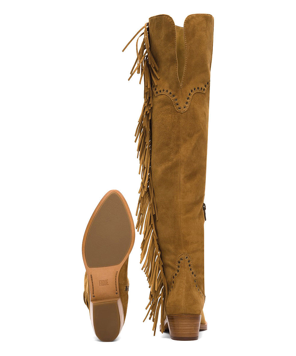 New $578 Womens 9.5 Frye Suede Leather Boots OTK Tall Knee Fringe Ray Camel Tan image 4