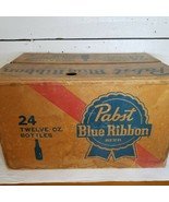 Cool Vintage Pabst Blue Ribbon Waxed Cardboard Beer Case For 24-12 oz Bo... - $25.74