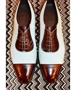 Handmade Men's Two Tone Leather Oxfords Dress Shoes Best Formal Shoes - $159.99+